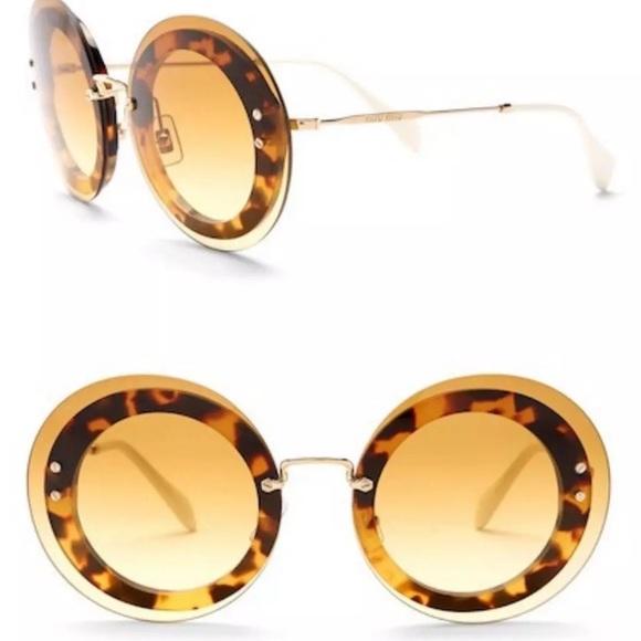 893d7b1d3e6d Miu Miu Round Wire Tortoise Sunglasses